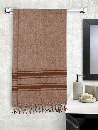 Brown Cotton Striped Bath Towels Set of 2 (L-60in, W-30in)