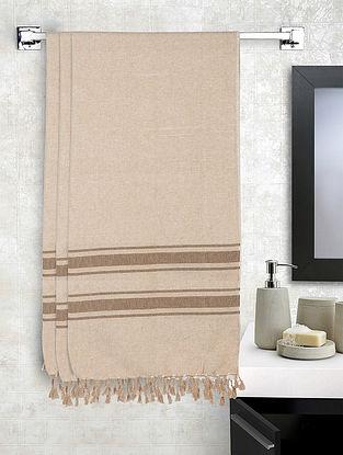 Beige Cotton Striped Bath Towels Set of 3 (L-60in, W-30in)