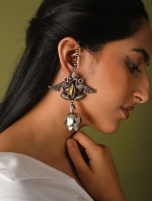 Maroon Dual Tone Tribal Silver Earrings