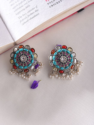 Multicoloured Kempstone Encrusted Temple Silver Earrings With Pearls