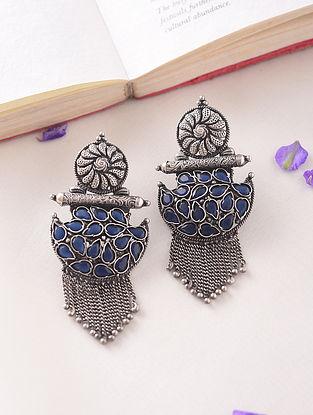Blue Kempstone Encrusted Temple Silver Earrings