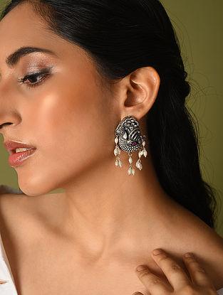 Maroon Kempstone Encrusted Temple Silver Earrings With Pearls