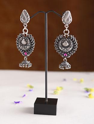 Maroon Kempstone Encrusted Temple Silver Earrings
