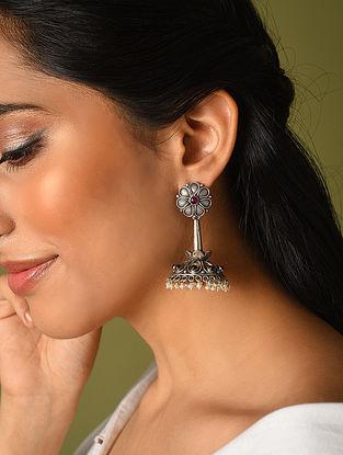 Maroon Kempstone Encrusted Temple Silver Jhumki With Pearls