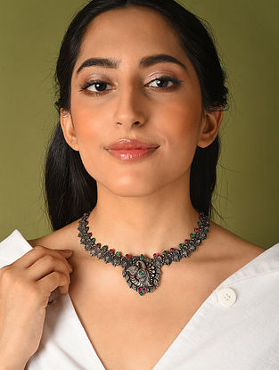 Maroon Green Kempstone Encrusted Temple Silver Necklace