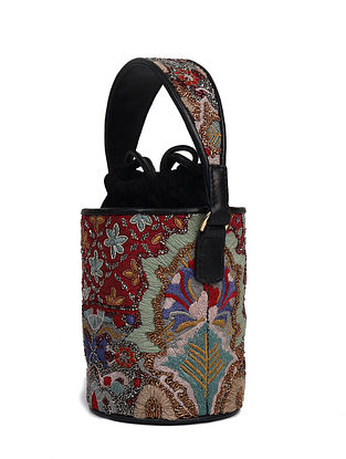 Multicolored Handcrafted Genuine Leather Bucket Bag