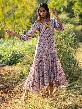 Grey Silk Chanderi  Dress with Slip