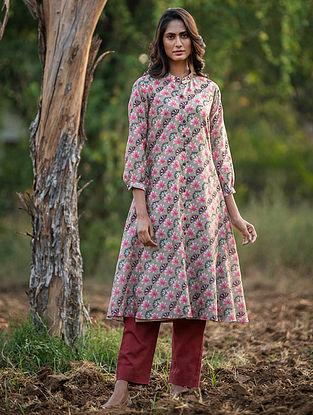 Beige Silk Chanderi  Kurta with Slip