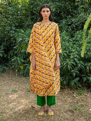 Yellow Silk Chanderi  Kurta with Slip