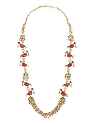 Red Gold Plated Vellore Polki Silver Necklace with Ruby and Pearls