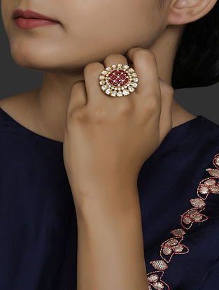 Red Gold Plated Vellore Polki Adjustable Silver Ring with Ruby