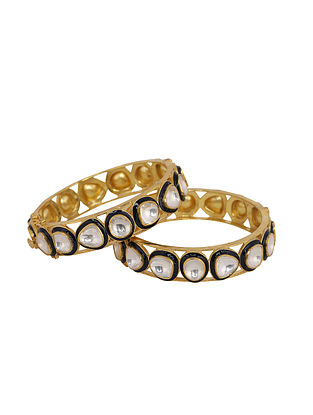 Blue Gold Plated Vellore Polki Silver Bangles with Pearls (Size: 2/3)