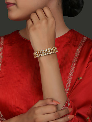 Red Gold Plated Vellore Polki Silver Bracelet with Pearls and Ruby (Size:2/3)