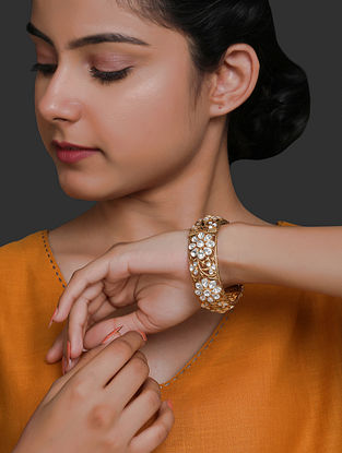 Gold Plated Vellore Polki Silver Bracelet with Pearls (Size: 2/3)