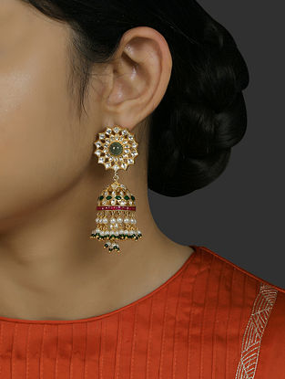 Red Green Gold Plated Vellore Polki Silver Earrings with Pearls and Emerald