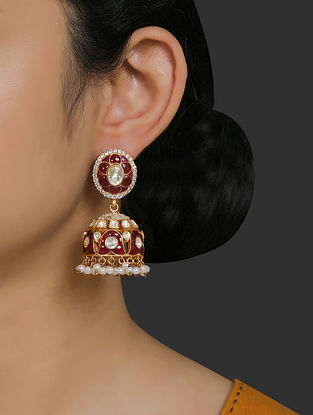 Red Gold Plated Vellore Polki Silver Earrings with Pearls and Ruby