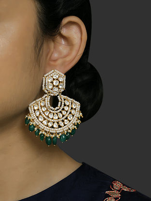 Green Gold Plated Vellore Polki Silver Earrings with Pearls and Emerald