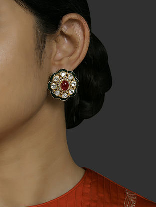 Red Green Gold Plated Vellore Polki Silver Earrings with Ruby