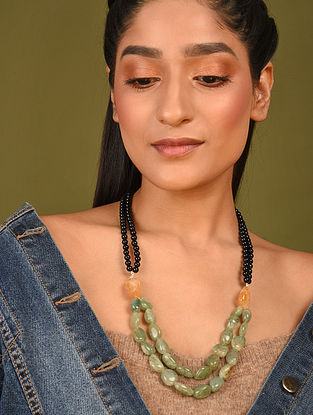 Black Green Beaded Necklace With Onyx Aventurine And Citrine