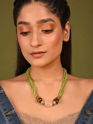 Green Yellow Beaded Necklace With Peridot Tiger Eye And Rose Quartz