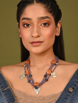 Blue Orange Silver Tone Beaded Necklace