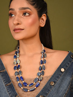 Blue Cream Beaded Necklace With Lapis Lazuli And Pearls