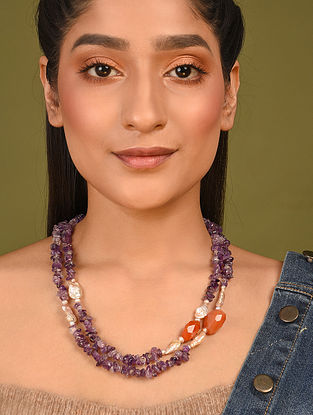 Purple Orange Beaded Necklace With Amethyst Carnelian And Pearls