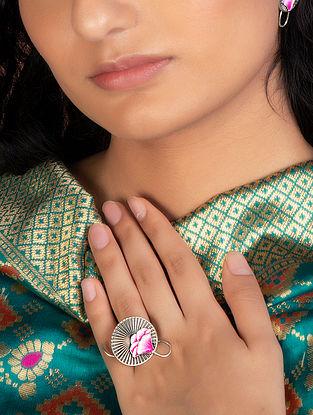 Pink Enameled Tribal Ring