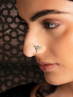 Blue Tribal Silver Nose Pin