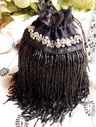 Black Handcrafted Raw Silk Potli