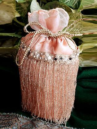 Pink Handcrafted Raw Silk Potli
