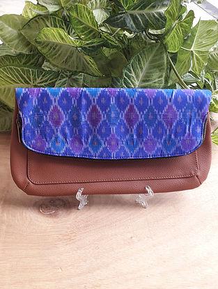 Blue Handcrafted Ikat Silk Leather Sling Bag