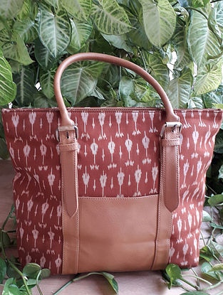 Rust Handcrafted Ikat Cotton Leather Tote Bag