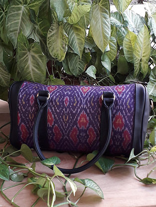 Purple Handcrafted Ikat Cotton Leather Duffle Bag