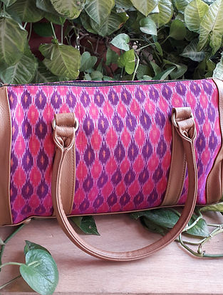 Pink Handcrafted Ikat Cotton Leather Duffle Bag
