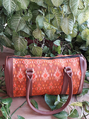 Orange Handcrafted Ikat Cotton Leather Duffle Bag