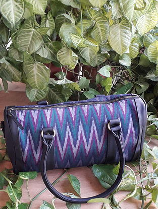 Blue Handcrafted Ikat Cotton Leather Duffle Bag