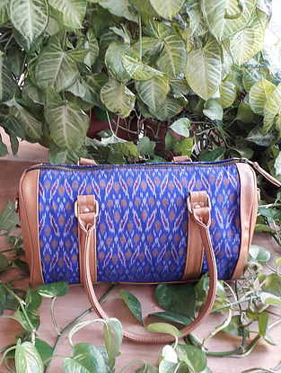 Blue Handcrafted Ikat Silk Leather Duffle Bag