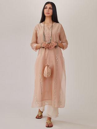 Pink Silk Chanderi Kurta with Gota Work