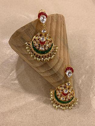 Green Red Gold Tone Kundan Earrings