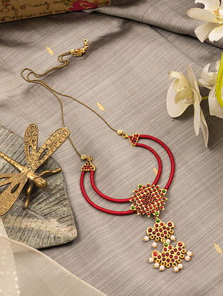 Red Green Gold Tone Temple Necklace With Pearls