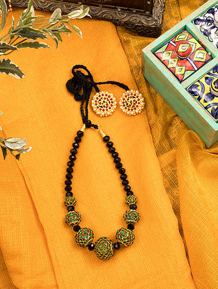 Green Red Gold Tone Beaded Temple Necklace