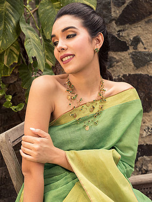 Green Gold Tone Layered Temple Necklace With Earrings