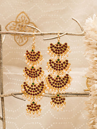 Red Gold Tone Temple Earrings With Pearls