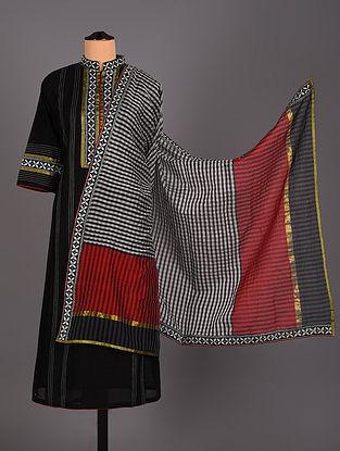 Black Hand Embroidered Chanderi Cotton Salwar Set