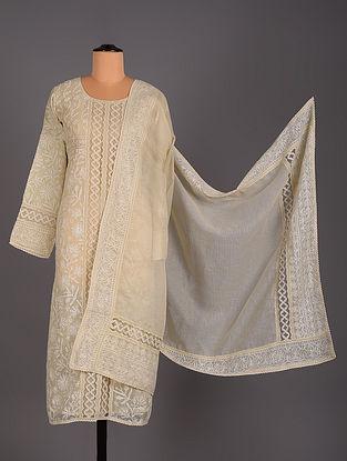 White Hand Embroidered Jute and Kota Salwar Set