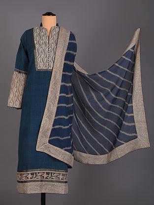 Blue Hand Embroidered Cotton Salwar Set