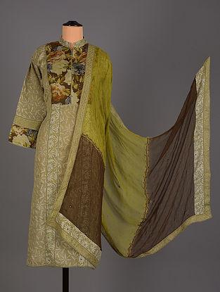 Brown Hand Embroidered Organza Salwar Set