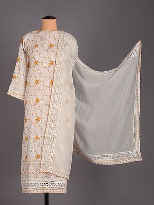 White Hand Embroidered Kota Doria Salwar Set