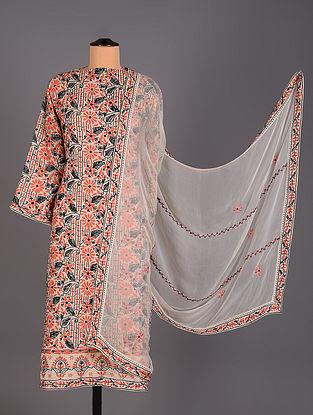 White Hand Embroidered Soft Cotton Salwar Set